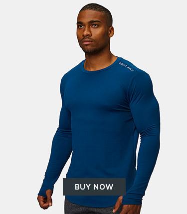 Squat Wolf - Men - Muscle Fit Long Sleeve - Dubai Blue